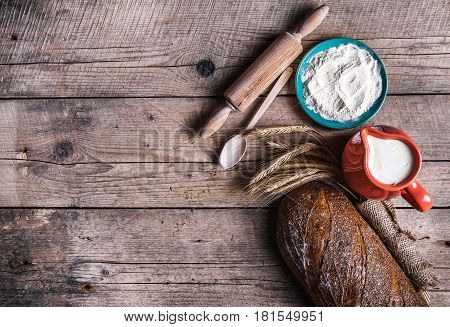 food. beautiful set for baking bread and