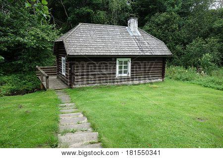 Historic wooden log sauna building in Estonia