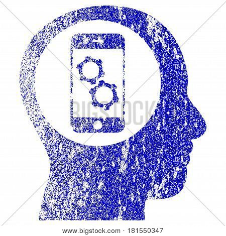 Smartphone Mind Control textured icon for overlay watermark stamps. Blue vectorized texture. Flat vector symbol with dirty design. Blue rubber seal stamp imitation.