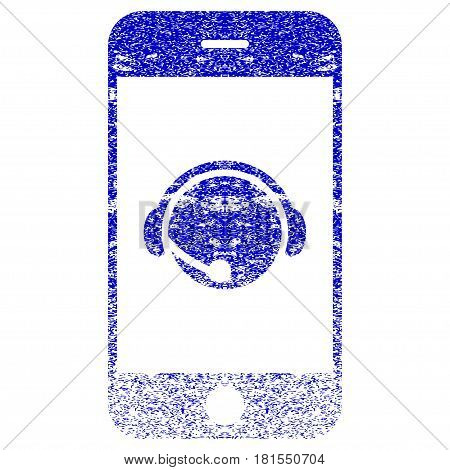 Smartphone Operator Contact Head textured icon for overlay watermark stamps. Blue vectorized texture. Flat vector symbol with unclean design. Blue rubber seal stamp imitation.