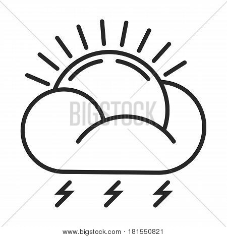 The Sun With A Thunder-storm Vector Icon