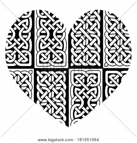 Celtic style heart with eternity  knot base patterns filling  in black and white   inspired by Irish St Patrick's Day, and Irish and Scottish carving art