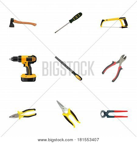 Realistic Arm-Saw, Hatchet, Carpenter And Other Vector Elements. Set Of Instruments Realistic Symbols Also Includes Electric Screwdriver, Hatchet, Emery Objects.