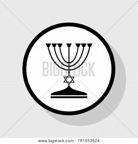 Jewish Menorah candlestick in black silhouette. Vector. Flat black icon in white circle with shadow at gray background.