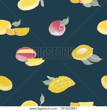 Mango tree vintage seamless pattern. Botanical mango fruit background. Engraved mango. Retro illustration