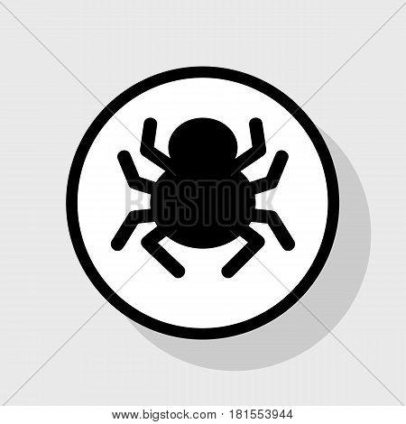 Spider sign illustration. Vector. Flat black icon in white circle with shadow at gray background.