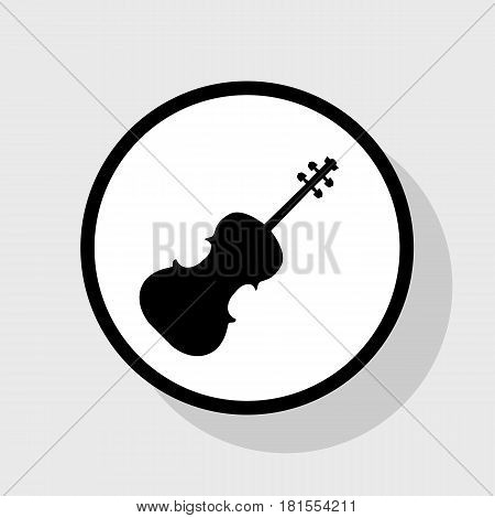 Violine sign illustration. Vector. Flat black icon in white circle with shadow at gray background.