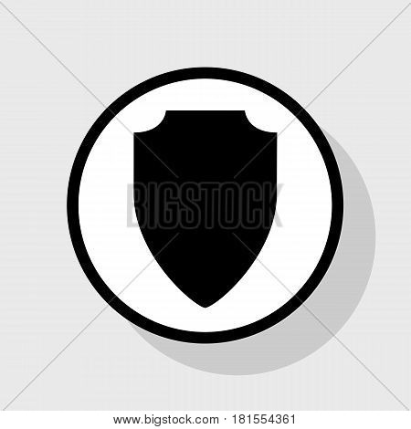 Shield sign illustration. Vector. Flat black icon in white circle with shadow at gray background.