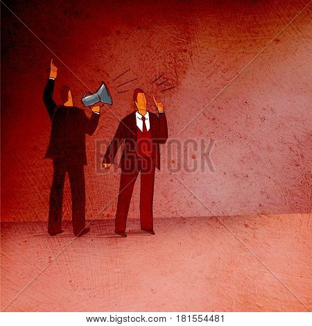 Business situation: standing with his back to the viewer a man with a horn and a man's face is loudly ordered. On a textured background.