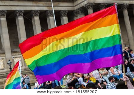 Rainbow Flag In Front Of St Georges Hall