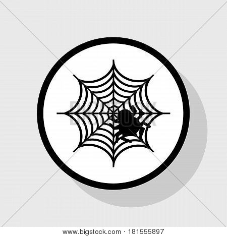 Spider on web illustration. Vector. Flat black icon in white circle with shadow at gray background.