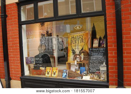 Norwich,England-August 1,2016: A bookstore window display the latest book by author J.K. Rowling