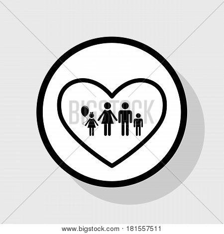 Family sign illustration in heart shape. Vector. Flat black icon in white circle with shadow at gray background.