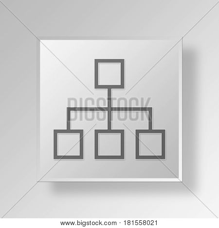 3D Symbol Gray Square Organisation Diagram icon Business Concept