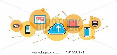 Flat line illustration of saving cloud service backup download network upload for website banner and landing page header blog infographics logo and icon in circle printed materials