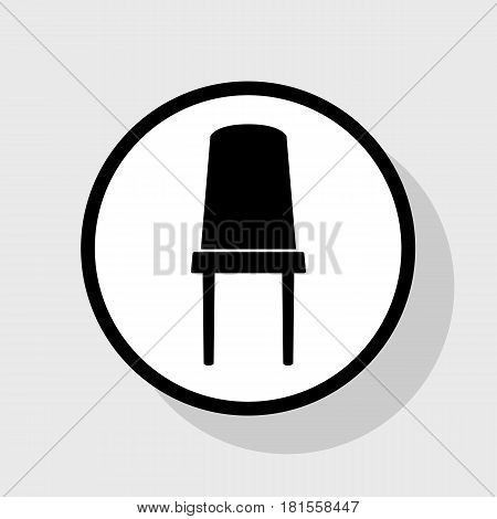 Office chair sign. Vector. Flat black icon in white circle with shadow at gray background.