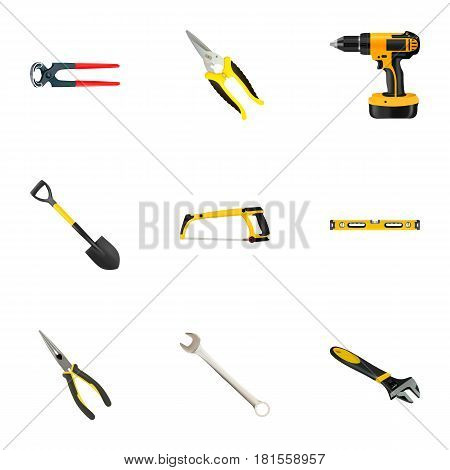 Realistic Spade, Arm-Saw, Scissors And Other Vector Elements. Set Of Tools Realistic Symbols Also Includes Long, Shear, Drill Objects.