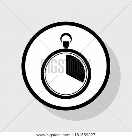 The 20 seconds, minutes stopwatch sign. Vector. Flat black icon in white circle with shadow at gray background.