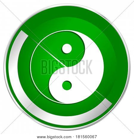 Ying yang silver metallic border green web icon for mobile apps and internet.