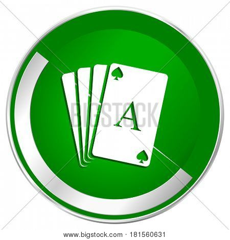 Card silver metallic border green web icon for mobile apps and internet.