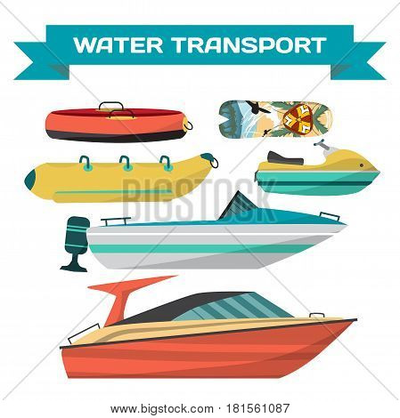 Set of water vehicles for riding on the beach. Motor boats scooters jet surfboards banana and tube. Sea and river transportation. Isolated on white background