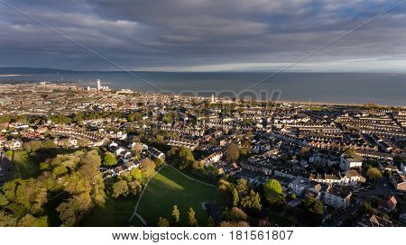 Editorial SWANSEA, UK - APRIL 13, 2017: A view of Swansea east and the Bay, looking towards Port Talbot from Cwmdonkin Park in the Uplands area
