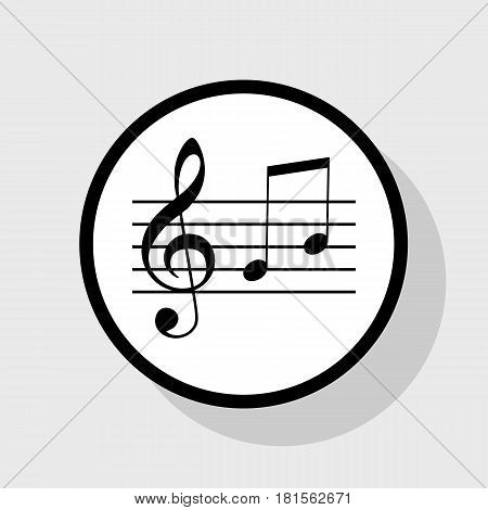 Music violin clef sign. G-clef and notes G, H. Vector. Flat black icon in white circle with shadow at gray background.