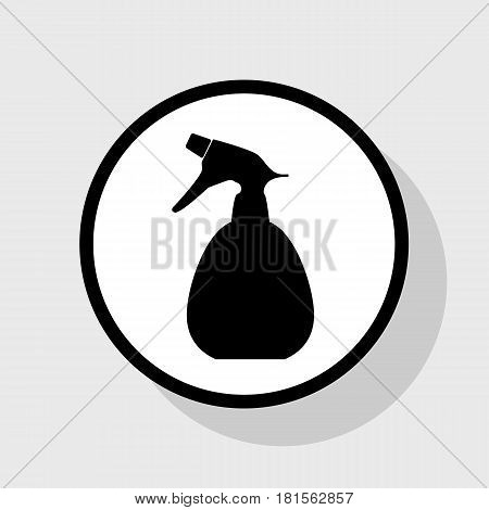 Spray bottle for cleaning sign. Vector. Flat black icon in white circle with shadow at gray background.