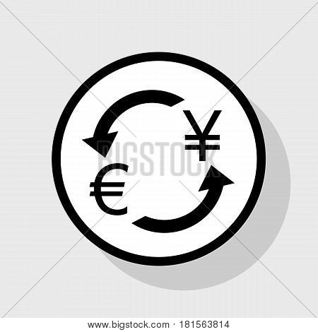 Currency exchange sign. Euro and Japan Yen. Vector. Flat black icon in white circle with shadow at gray background.