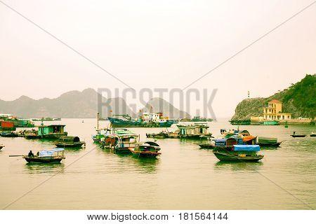 Halong Bay Vietnam - March 5 2017: harbor at Cat Ba island Halong Bay Vietnam