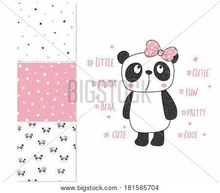 Cute little panda. Surface design and 3 seamless patterns. Can be used for kid's clothing. Use for print design, surface design, fashion kids wear