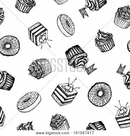 Desserts - black and white seamless pattern with hand-drawn cakes and doughnuts