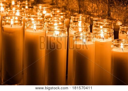 Lighted Wax Candles Photograph