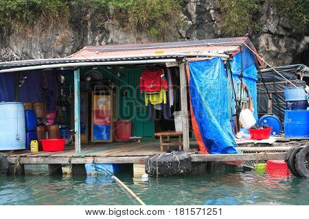Halong Bay Vietnam - March 6 2017: floating village near Cat Ba island Halong Bay Vietnam