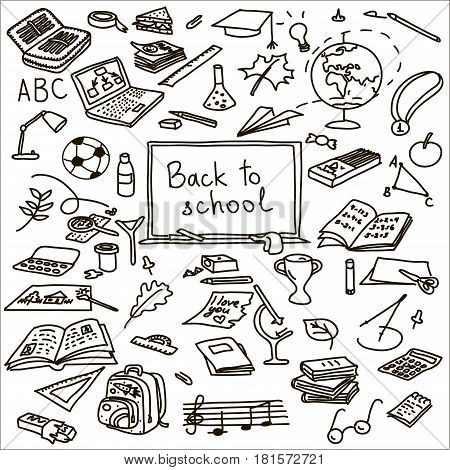 back to school. Hand drawn set. Vector illustration. sketch. book, brush, calculator, eraser, fastener, globe, goggles laptop medal microscope note paints paper paperclip pen pencil pin