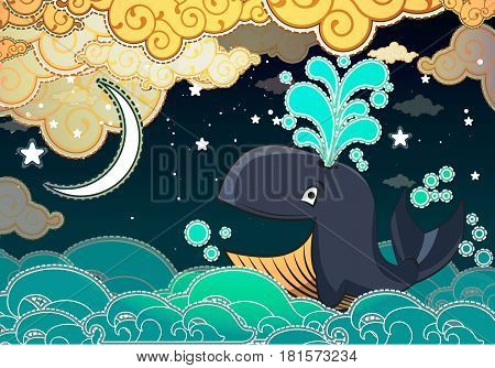 Cartoon style whale, night, half moon and clouds