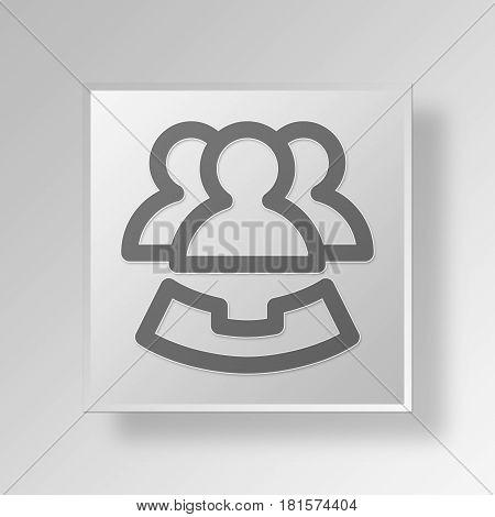 3D Symbol Gray Square Teleconference icon Business Concept