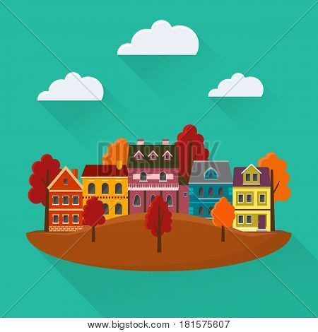Autumn cityscape. Urban landscape in the fall with small cute houses and mountains. EPS10 vector illustration in flat style.