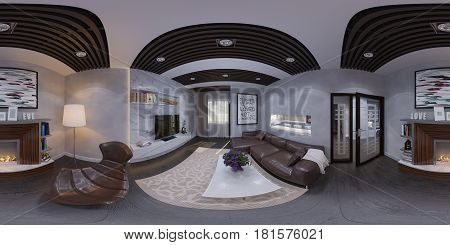 3d illustration of the interior design of the living room. The style of the apartment is modern with bio fireplace. Render is executed, 360 degree spherical seamless panorama for virtual reality.