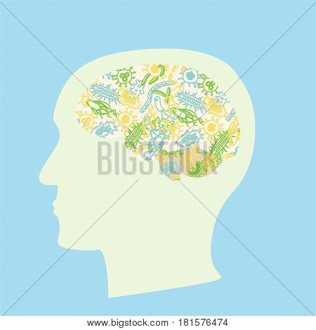 Microbiota Brain Concept