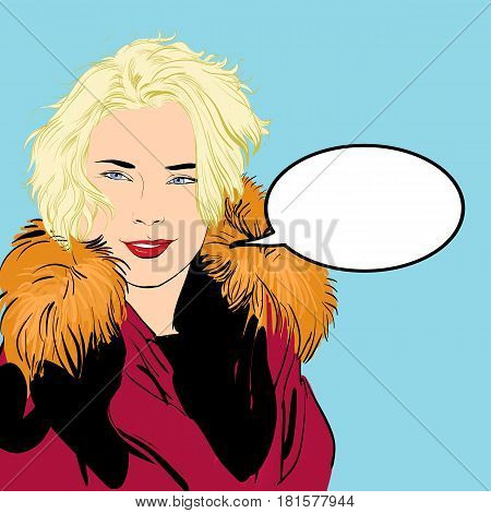 vector illustration of woman in furs. A woman pointing a finger. A woman explaining something.