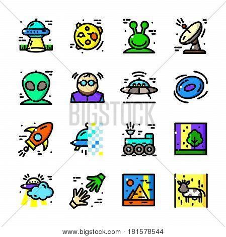Thin line UFO Leaves icons set, Visit Earth Aliens outline logos vector illustration