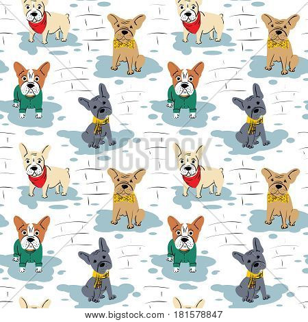 Cartoon vector character french bulldog seamless pattern. Funny puppies in cute clothes wallpaper. Domestic pet illustration.