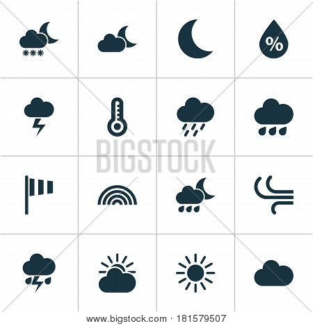 Weather Icons Set. Collection Of Flag, Night, Temperature And Other Elements. Also Includes Symbols Such As Hate, Colors, Snowy.
