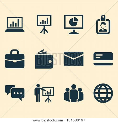 Job Icons Set. Collection Of Suitcase, Statistics, Id Badge And Other Elements. Also Includes Symbols Such As World, Board, Handbag.