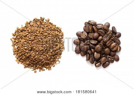 Piles of cofee isolated on white, granulated and seeds
