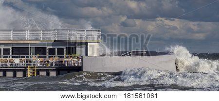 STORM - Stormy waves of the Baltic Sea break up on the sea coast in Kolobrzeg