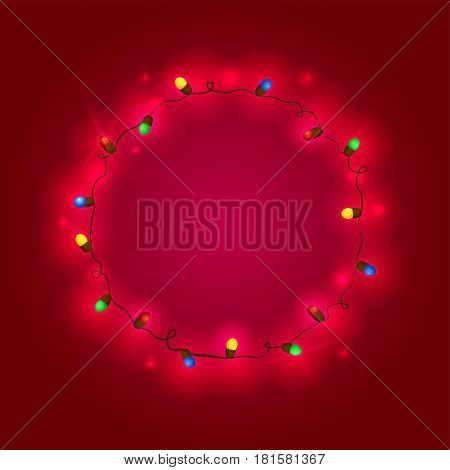 Christmas garland with colorful lights, creative template for New year greetings or photo frame, vector illustration isolated from red background