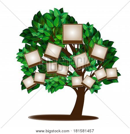 Green family tree with leaves pattern for design