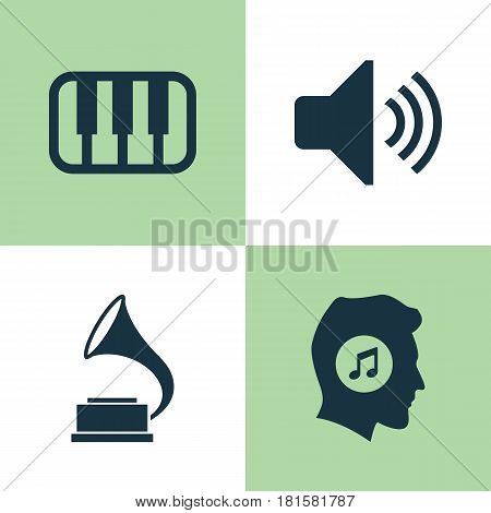 Music Icons Set. Collection Of Octave, Meloman, Sound And Other Elements. Also Includes Symbols Such As Phonograph, Octave, Sound.